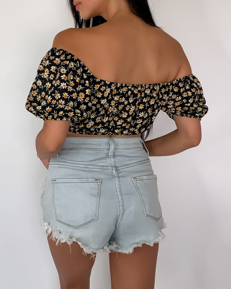 Amal Floral Bardot Crop Top