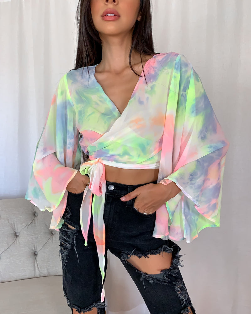 Neon Lights Tie Tye Crop