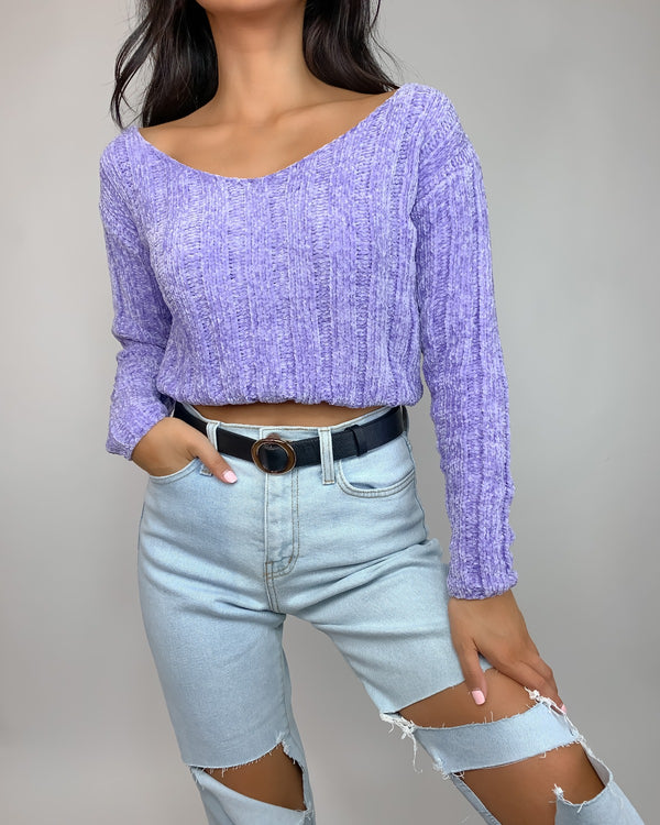 Mery Chenille Cropped Sweater