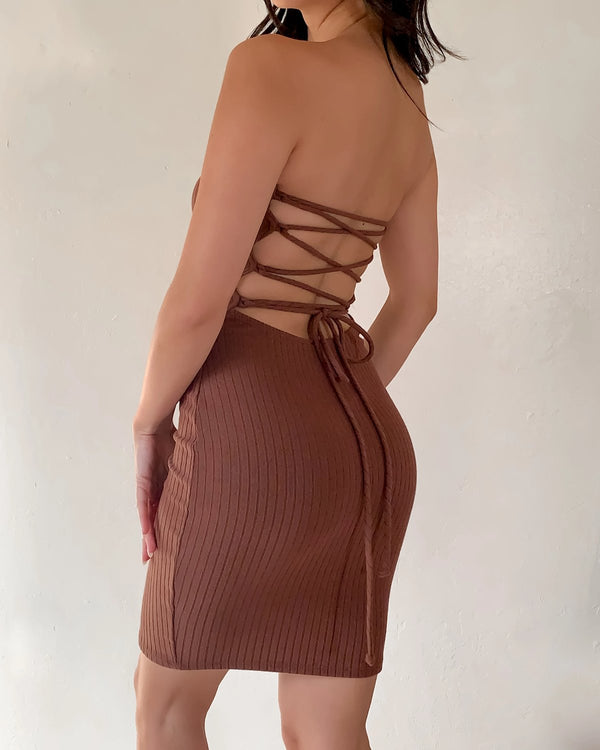 SUNNY RIBBED TUBE DRESS