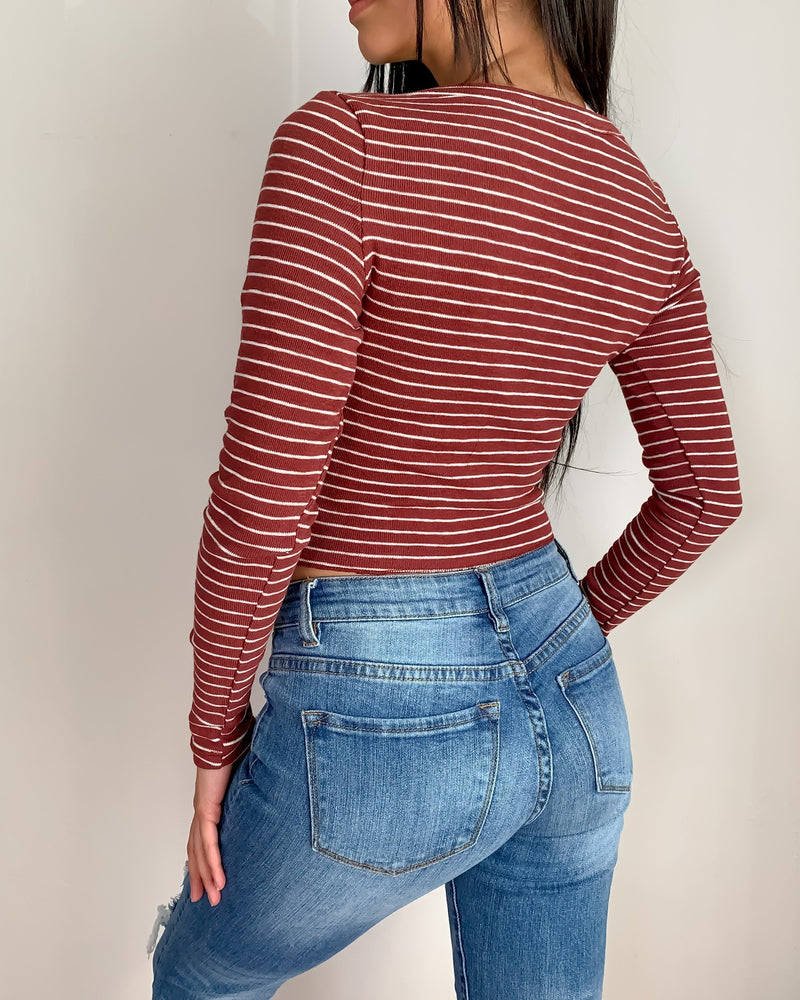 Katie Striped Button Down Crop Top