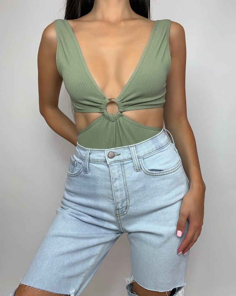Aria Ribbed Cutout Bodysuit