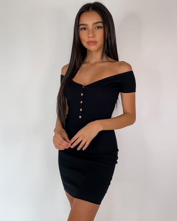 Amber Ribbed Bardot Dress