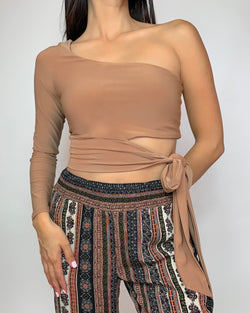 Caroline One Shoulder Wrap Crop Top