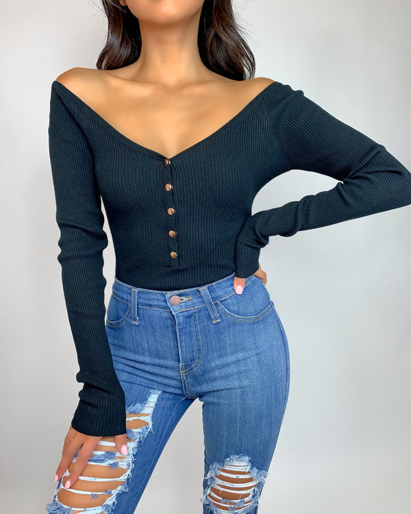Kelly Ribbed Bardot Bodysuit