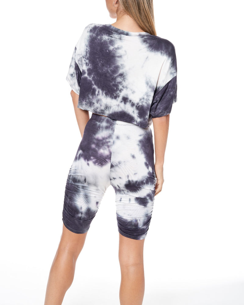 Mid Night Tie Dye Side Ruched Biker Shorts