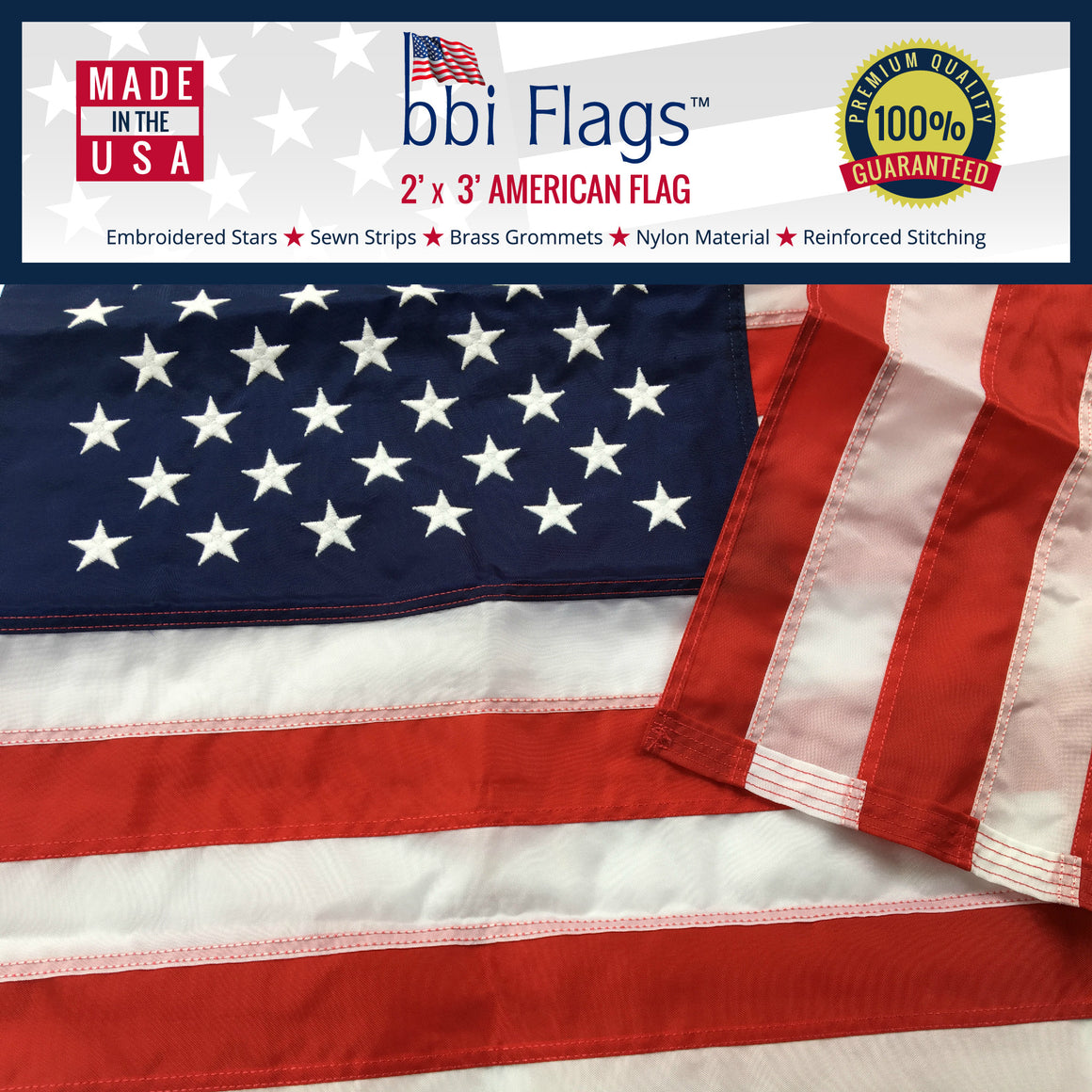 American Flag - 100% Highest Quality Nylon - Available in 6 sizes