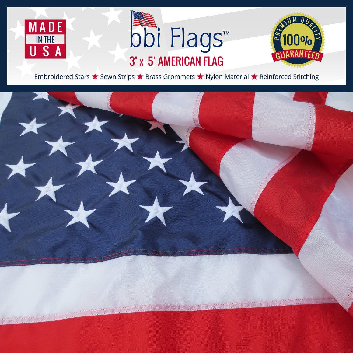 American Flag, 100% Made In USA, Nylon US Flags, Embroidered and Sewn - 3'x5' - bbi Flags