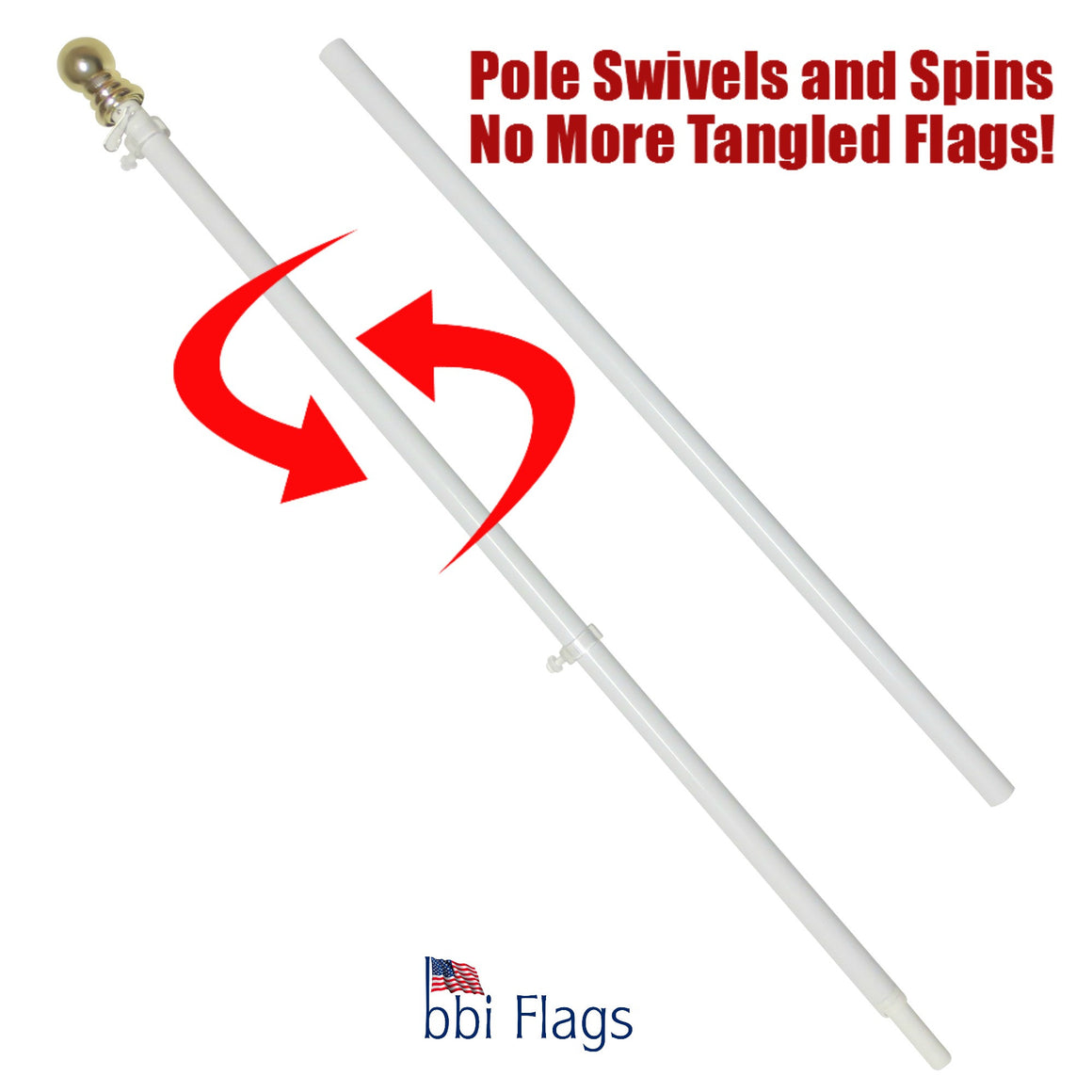 Flag Pole--Tangle Free, 6 ft with 1 inch diameter