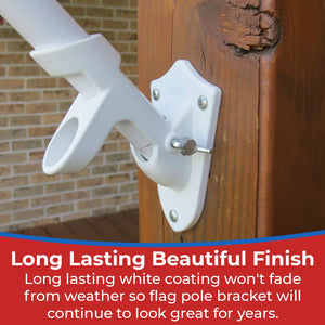 BBI Flags Flag Pole Holder Wall Mount Heavy Duty 1 Inch Flag Bracket Made With Lightweight And Durable Aluminum Two Position Mounting Bracket. - bbi Flags