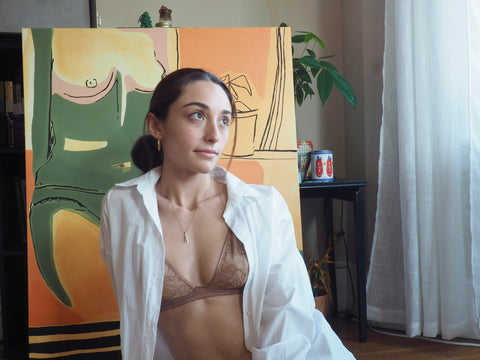 Maddie wears Amour Cache Cristal Wireless Pocketed Bra & Hipster Tiger Lace
