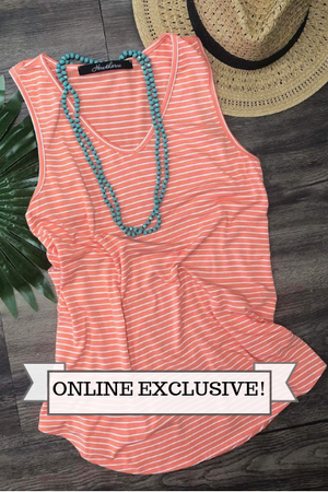 Coral V-Neck Striped Tank