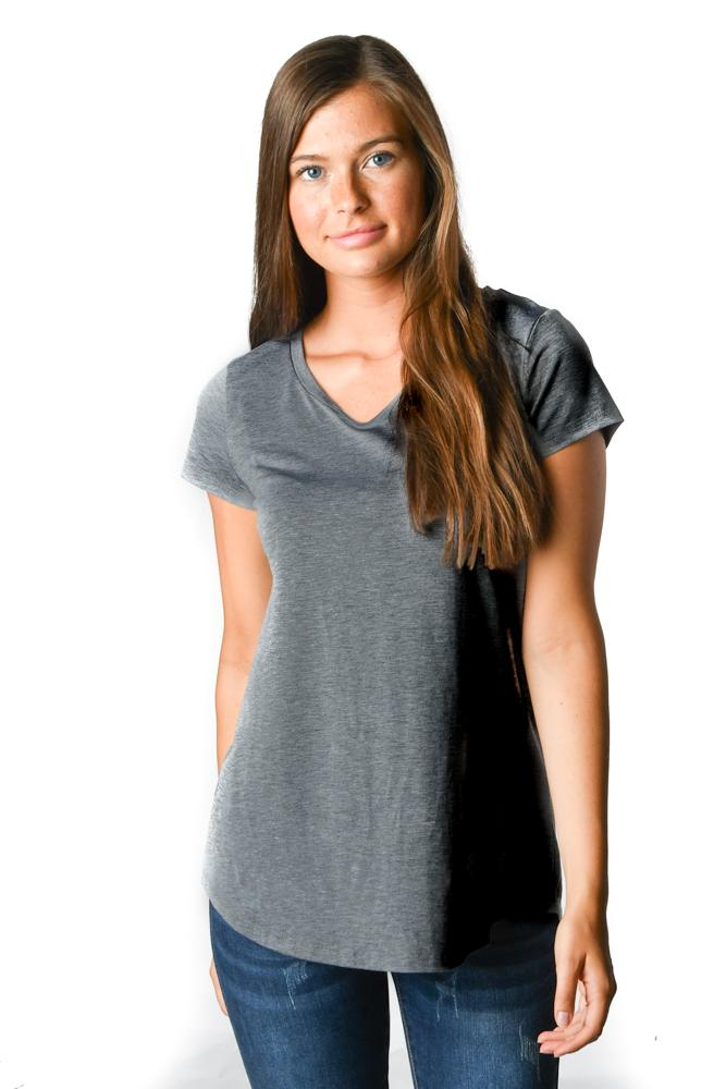 Charcoal Short Sleeve V-Neck Tee