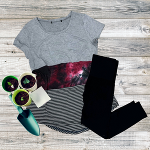 Gray & Tie Dye Colorblock Tee