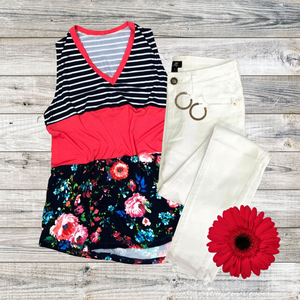 Stripe & Floral Colorblock Tank