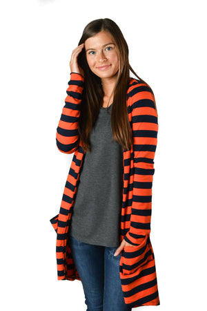 French Terry Navy & Orange Stripe Favorite Cardigan