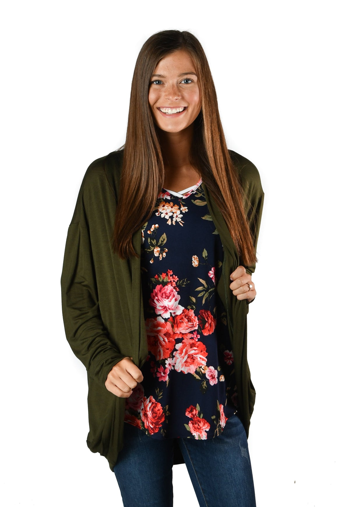 Olive Cozy Cocoon Cardigan - Warehouse Apparel
