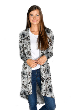 Black/Floral Cardigan - Warehouse Apparel