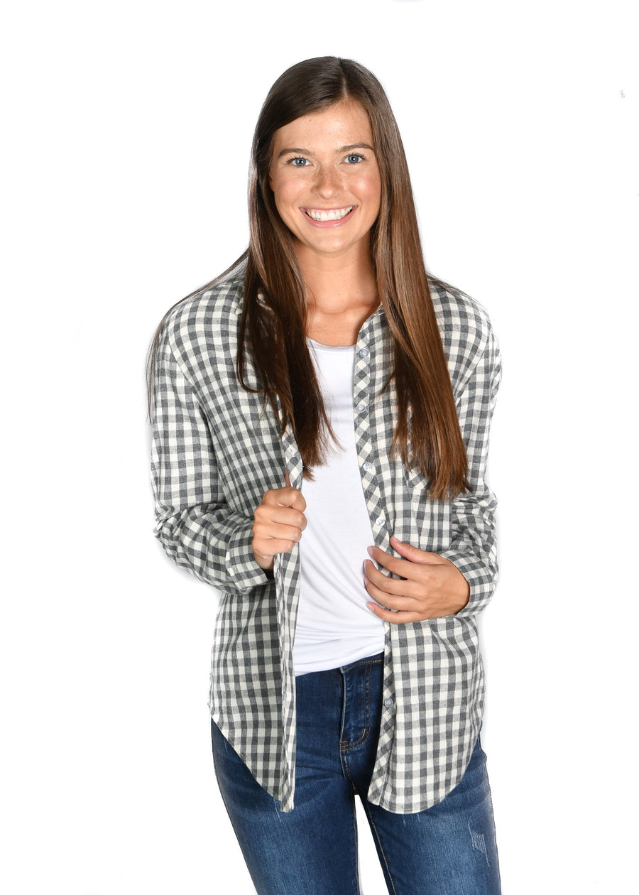 Flannel Gray Gingham Shirt - Warehouse Apparel