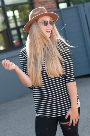 Black Striped Raglan