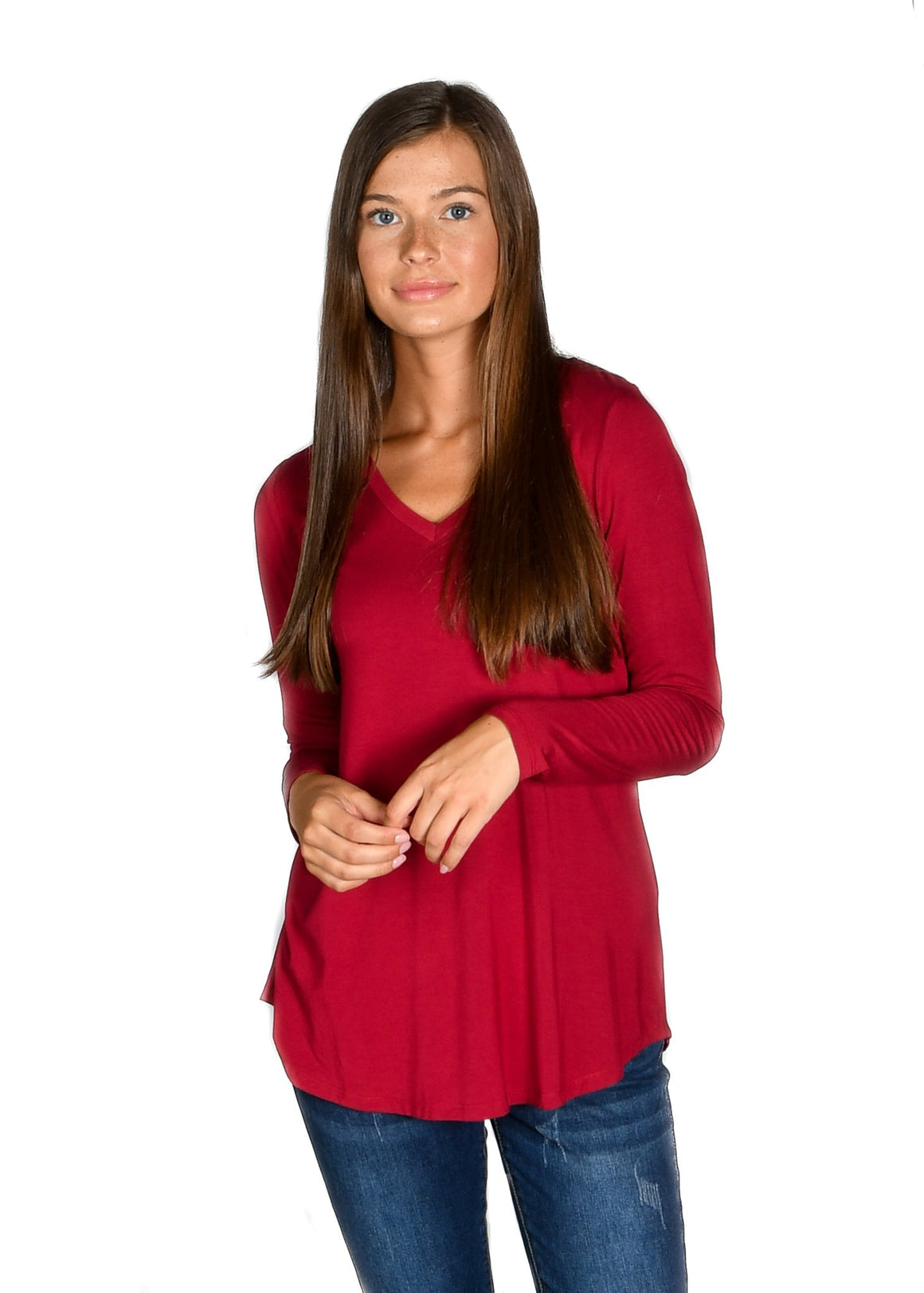 Wine Long Sleeve V-Neck Tee - Warehouse Apparel