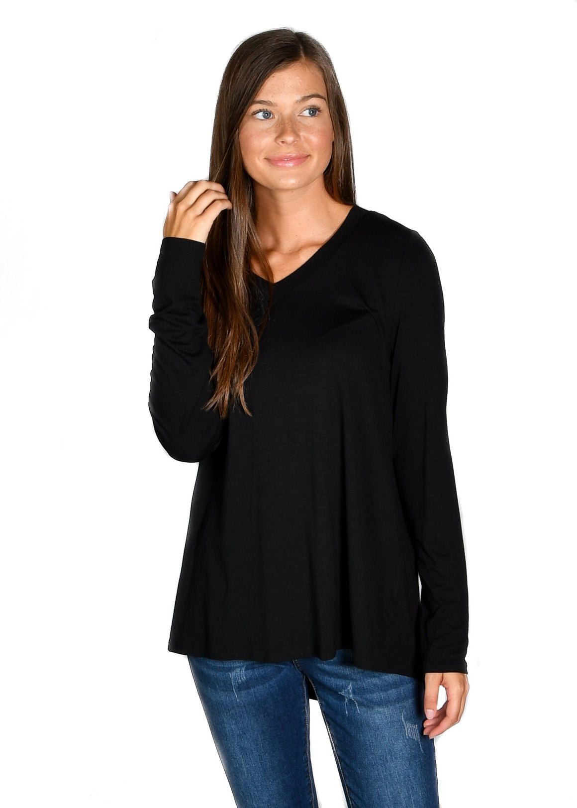 Black Long Sleeve V-Neck Tee - Warehouse Apparel