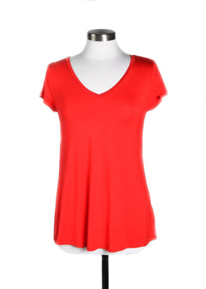 Red Short Sleeve V-Neck Tee
