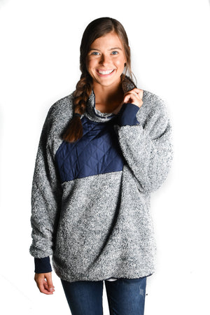 NAVY Pullover Snap-Up Fleece - Warehouse Apparel