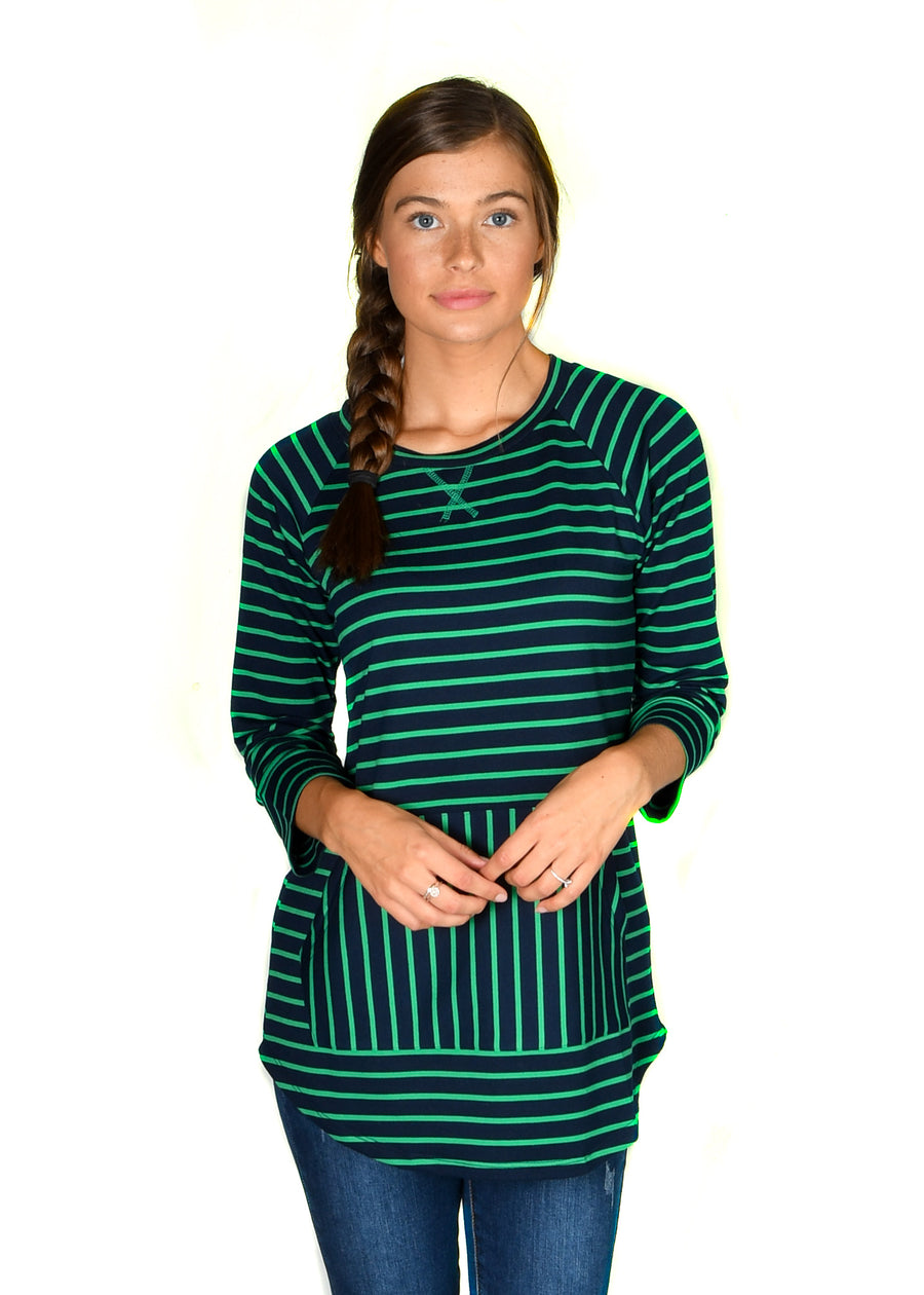 Kelly/Navy French Terry Stripe Sweatshirt