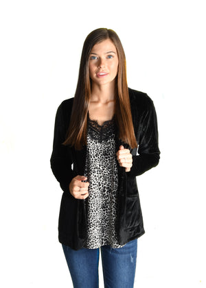 Black Stretch Velvet Blazer