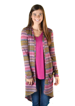 Plum Stripe Favorite Cardigan