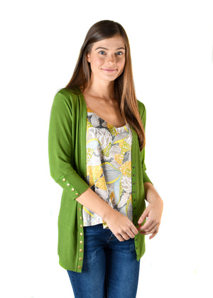 Grass Green 3/4 Snap Cardigan