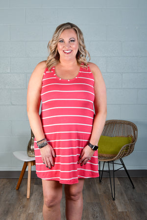 Coral Stripe Racerback Tank Dress
