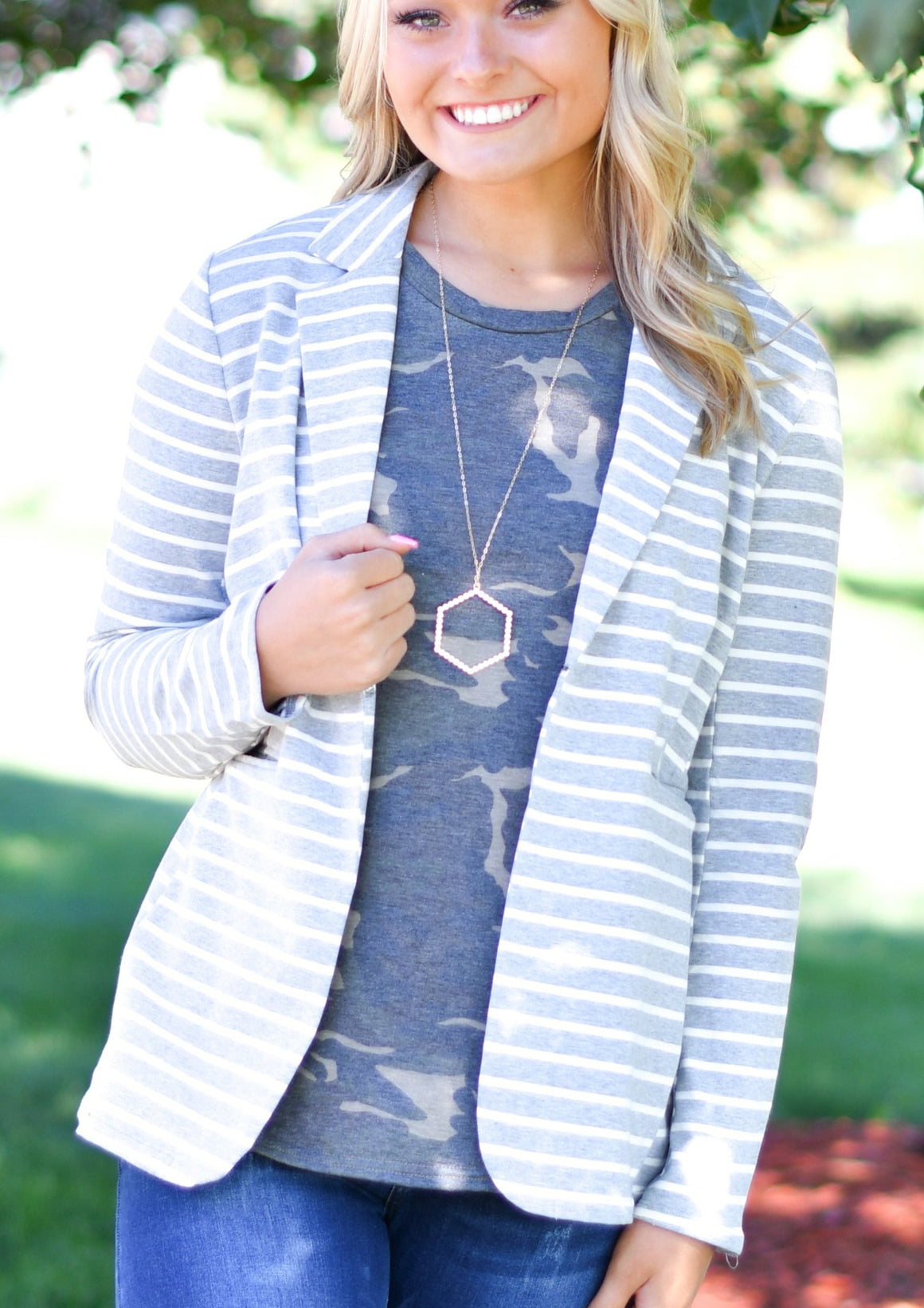 Gray Stripe Blazer