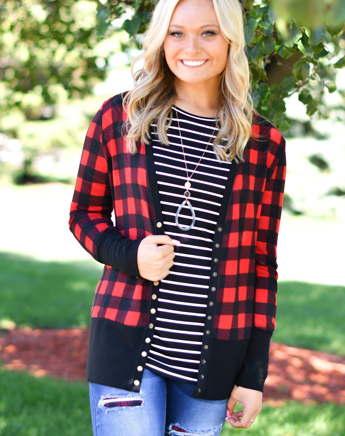 Red & Black Snap Cardigan