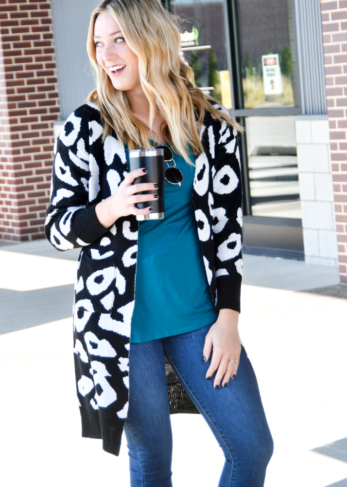 Black Leopard Cardigan