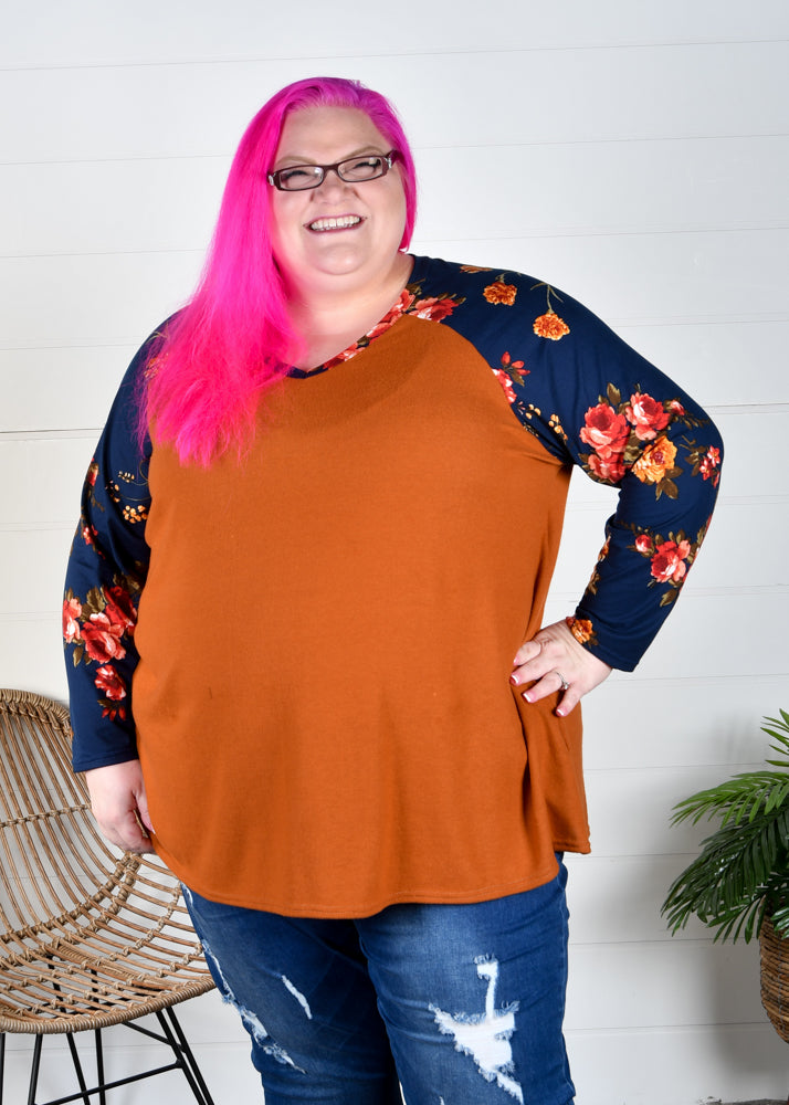 Copper Hacci Raglan with Navy Floral Sleeves
