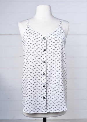 Black Fan Button Tank