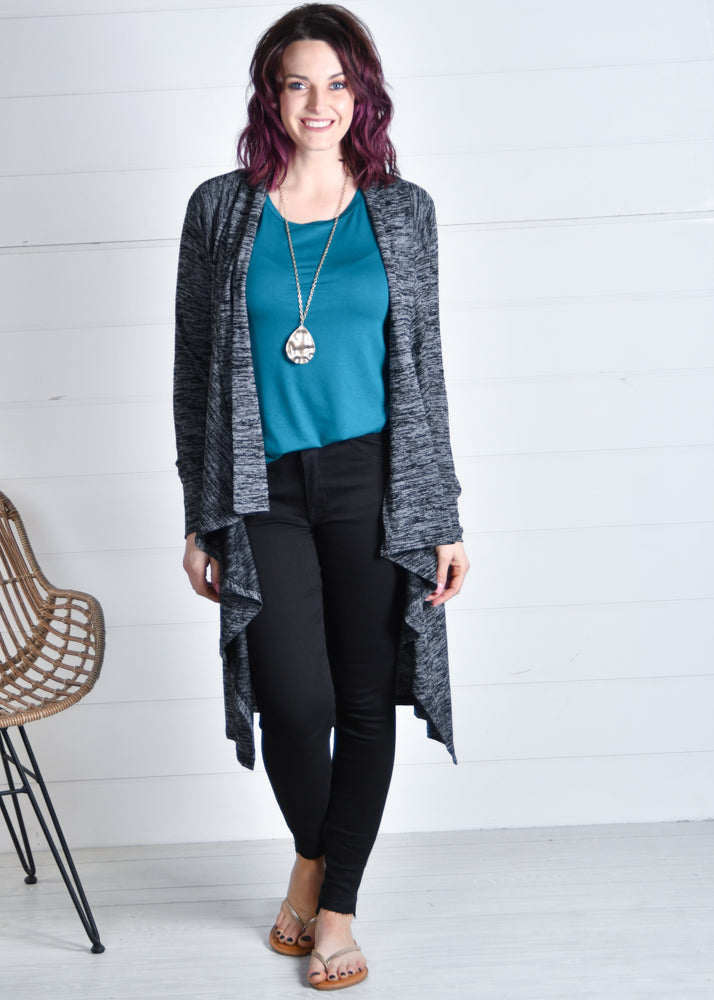 Open cardigan black waterfall neckline