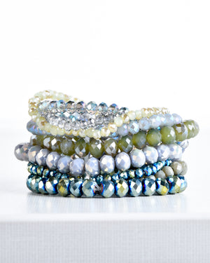 Green and Blue Tone Glass Bead Stretch Bracelet Set