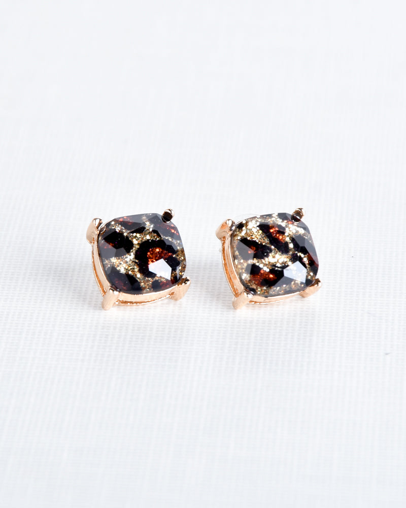Leopard Print Glitter Square Stud Earrings