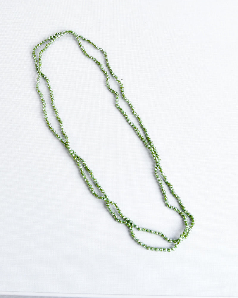 Light Green Glass Bead Necklace - 4mm Beads