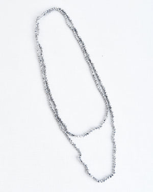 Silver Glass Bead Necklace - 4mm Beads
