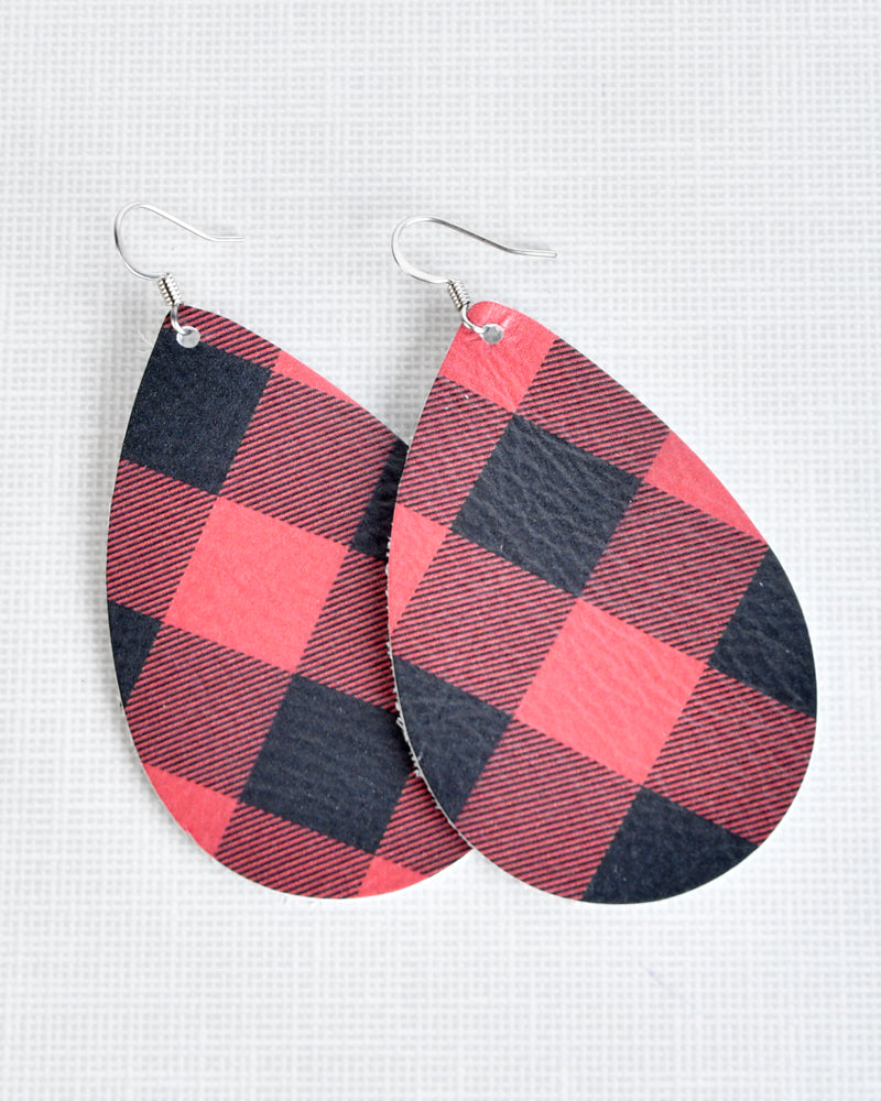 Leather Earrings - Buffalo Plaid