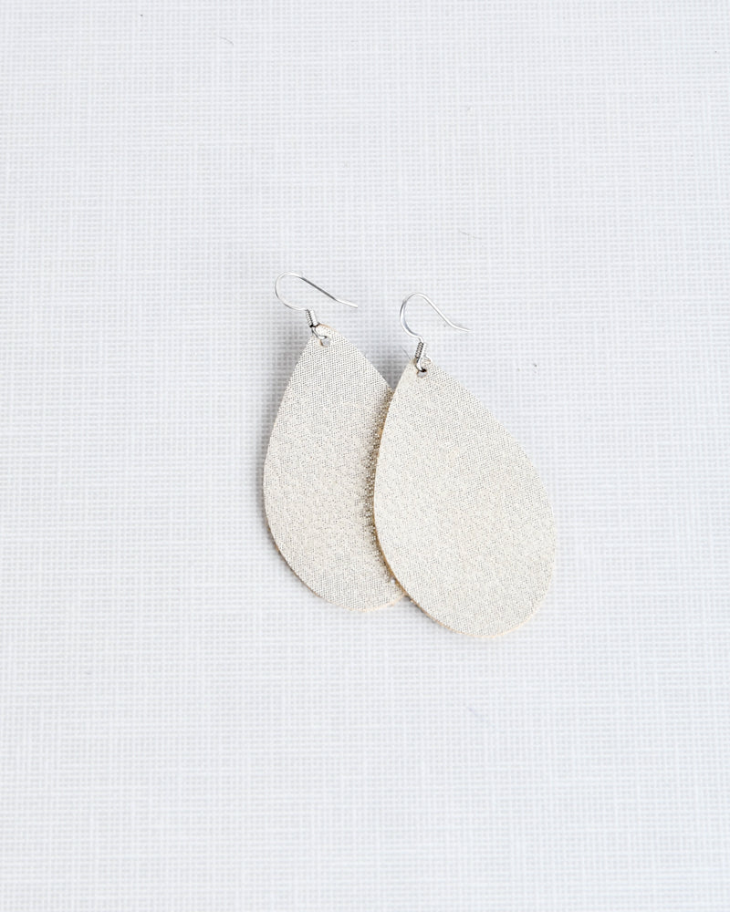 Leather Earrings - Sparkle Champagne