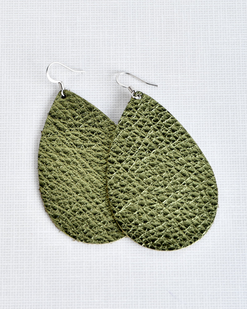 Leather Earrings - Brilliant Olive