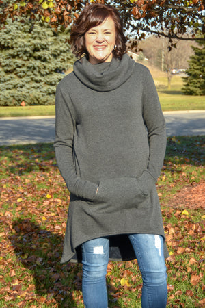 Charcoal Furry Sweatshirt Tunic