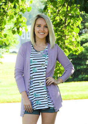 Lilac Frost Snap Cardigan
