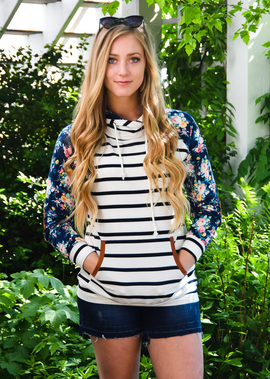 !!!Sale!!! Black and White Stripe hoodie W/ Floral Accents