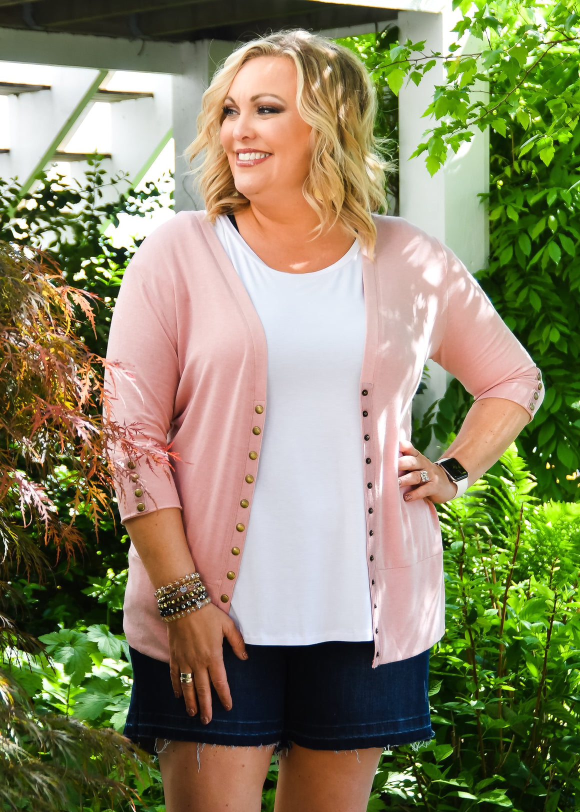 3/4 Blush Snap Cardigan